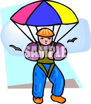 clip art illustration of a boy skydiving with birds flying around him