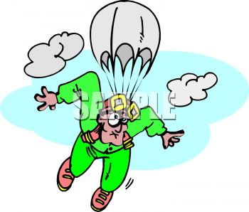 clip art illustration of a man skydiving. He has a funny look on his face
