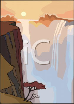cartoon of a large wide waterfall into a canyon