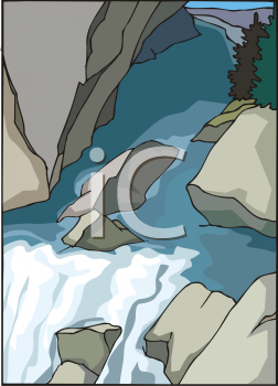 A clip art illustration of a waterfall surrounded by large rock