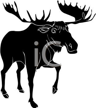 silhouette of a large moose walking. He has one leg up off the ground