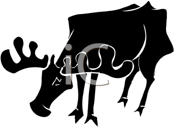 silhouette of a moose grazing on a white background