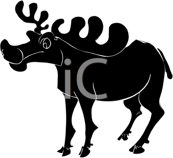 clip art silhouette of a moose standing with his head up