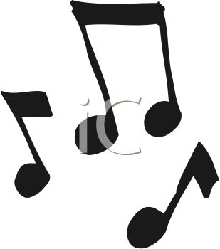 A cartoon silhouette of music notes