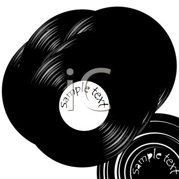 a clip art illustration of vinyl record albums
