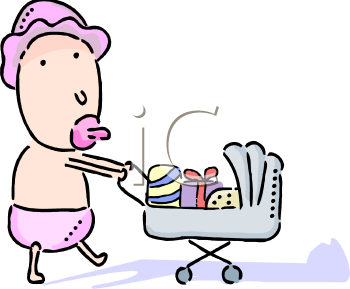 clip art illustration of a baby sucking on a pacifier and pushing a stroller