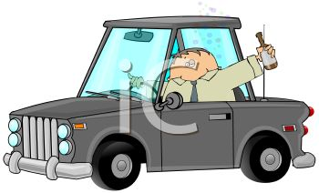 cartoon clipart of a businessman driving in his car. He is holding a drink outside the window