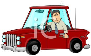 clip art illustration of a businessman sitting in a red card holding a drink out of the window