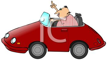 cartoon clip art of a man driving in a red car and flipping the bird