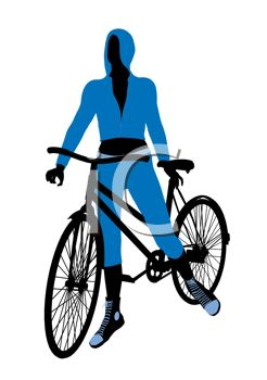 clip art illustration of a woman on a bicycle standing up