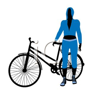 cartoon clip art of a woman standing next to her bicycle
