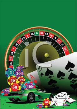 clip art illustration of a roulette table, black jack cards, and a sports car on a green background