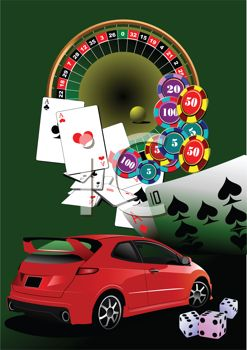 clip art illustration of a red car, roulette table, cards, and dice