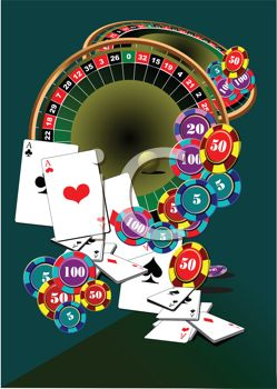 clip art illustration of a roulette table, poker chips, cards, and money chips