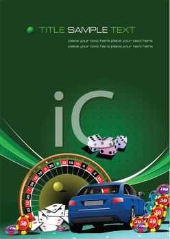 clip art illustration of a poster of a blue car, roulette table, cards,money chips, and dice
