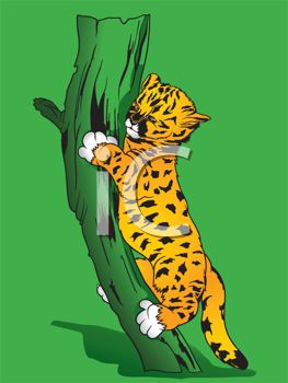 clip art illustration of a baby tiger climbing up a tree