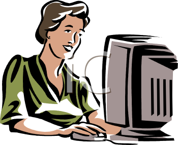 clip art of a woman working on a computer
