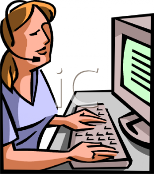 clip art of a woman wearing a headset and working on a computer
