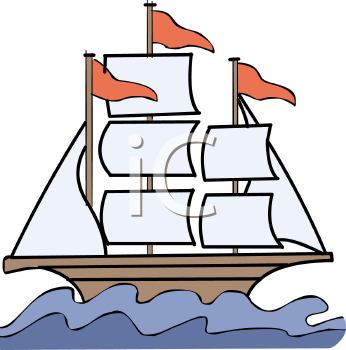 Clip Art Illustration Of A Sailboat On The Water With 3 Red Flags Flying
