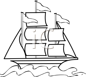 clip art Outline of a sailboat with flags flying