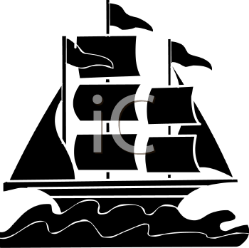 clip art silhouette of a sailboat on the ocean with flags flying