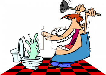 Cartoon of an insane man using a plunger on a backed up toilet