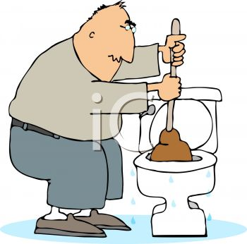 Cartoon man using a plunger or plumbers helper on a toilet