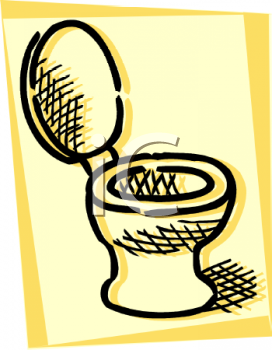 Drawing of a toilet with the lid up on a yellow background