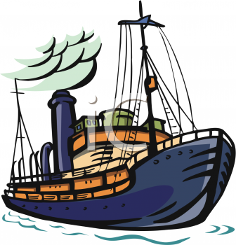 clip Art illustration of a cruise ship on the ocean