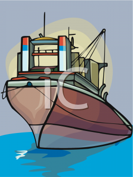 clip art illustration of a cruiseliner on the open sea