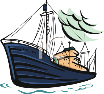 clip art illustration of a cargo ship on the ocean