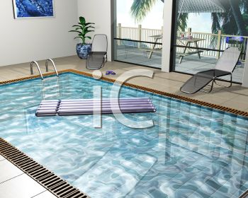 Clip Art Of a swimming pool inside of a hotel
