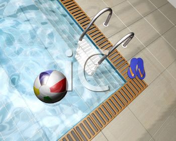 Clip Art of a Public Swimming pool with a beach ball and a pair of sandals