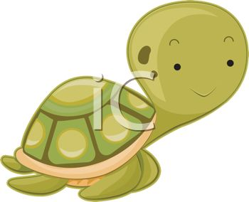 Clip Art Cartoon Of A Cute Turtle With A Smiley Face Walking
