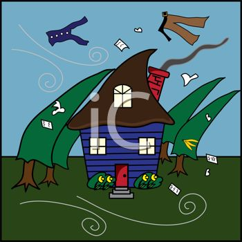 clip art cartoon of a hurricane blowing trees, clothes, and papers everywhere. A house sits in the middle of the hurricane