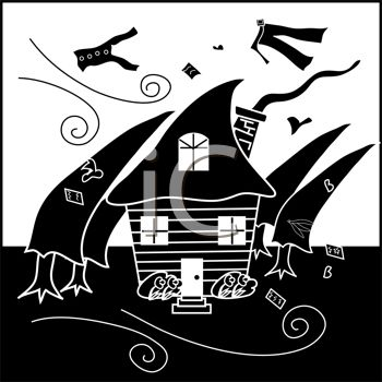 a clip art silhouette of a house, trees, clothing, and paper being blown away by a hurricane