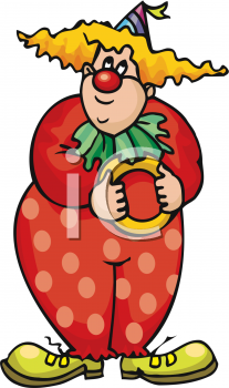 clip art of a funny clown holding a yellow ring