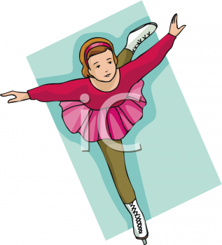 clip art illustration of a young girl wearing a pink tutu ice skating