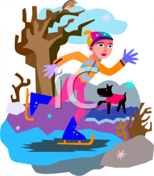 Clip Art Illustration Of A girl Ice skating On A Lake. Her dodg is wearing A Pink Sweater