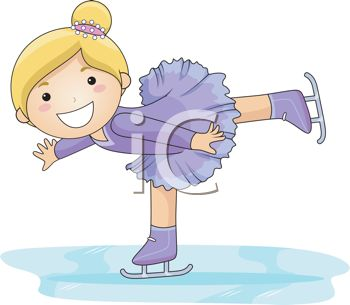clip art of an adorable little girl with a big smile doing tricks on her ice skates