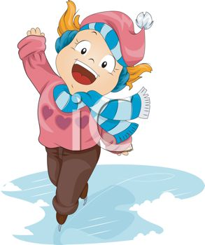 clip art of a happy young girl ice skating with her arms out to the side and a big smile