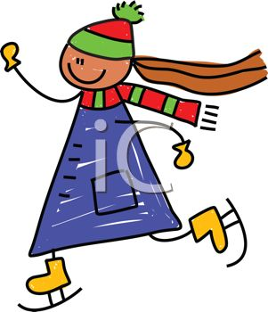 Clip Art Cartoon Of a little girl ice skating very fast