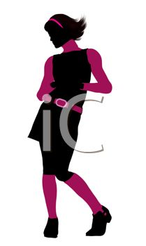 clip art of a stylishly dressed woman wearing black and pink standing with one heel up in a sexy pose