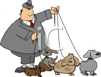 Clip Art Image of a businessman walking his dogs