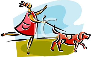 clip art image of a lady walking her dog. The dog is pulling the lady