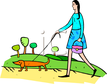 clip art illustration of a woman holding a purse walking her daschund