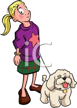 clip art image of a young girl walking her white fluffy dog on a leash