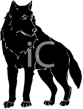 clip art image of a black furry dog standing and staring