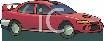 clip art image of a red sports car