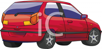 clip art illustration of a red hatchback car